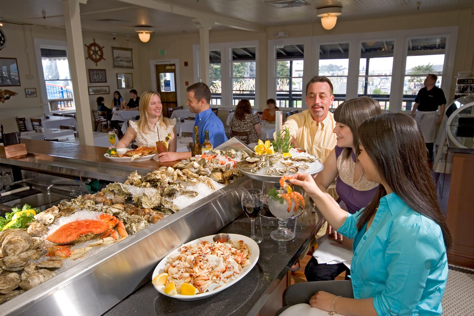 Raw Seafood Platter with Oysters, Clams, Shrimp Cocktail and Dungeness Crab