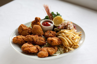 Fried Oyster Platter with Cole Slaw and French Fries