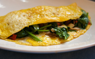 The Veggie Omelette with Swiss cheese